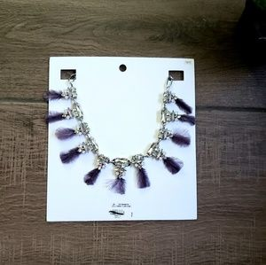 Express gem feather statement necklace New